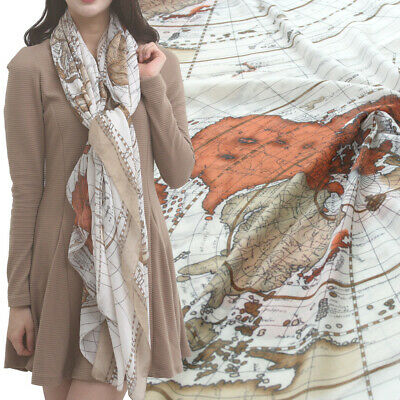 WORLD MAP PRINT scarf soft KOREAN CHIFFON Shawl wrap stole Beige color NEW big