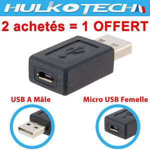 adaptateur adapter prise usb male vers micro femelle pour tablette smartphone pc ebay. Black Bedroom Furniture Sets. Home Design Ideas