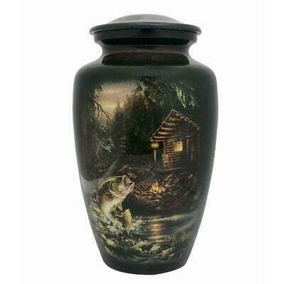 Large/Adult 210 Cubic Inch Metal Fish and Cabin Funeral Cremation Urn for Ashes - Large Adult Urn