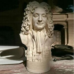 Sir-Christopher-Wren-Miniatura-Buste-in-inglese-gesso-intonaco-13-cm-alto