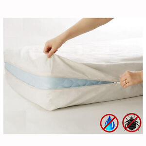 Home-Expressions-Zippered-Waterproof-Fabric-Mattress-Cover-Choice-of-4-Sizes