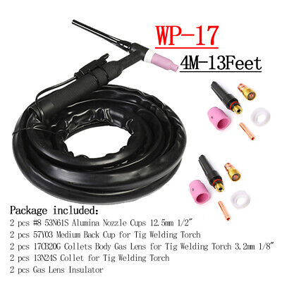 Wp17 150a Tig Welding Torch 4m Complete Flexible Head Air Cooled W Consumables