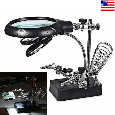 Magnifier With Light - Helping Hand Soldering Stand With Magnifier Magnifying Glass 3 Lens 5 LED Light