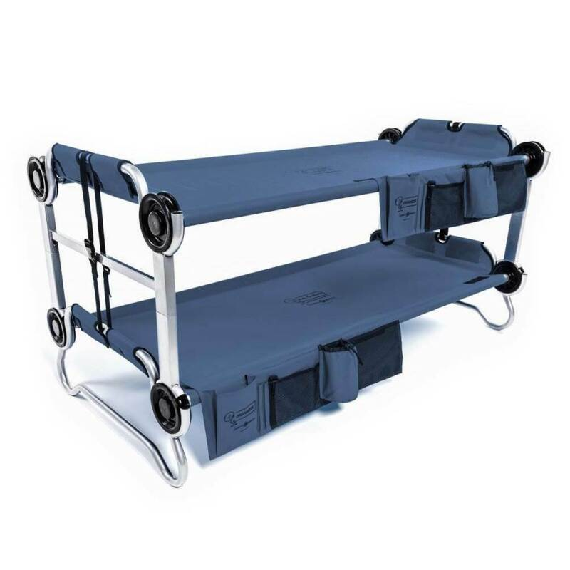 Disc-O-Bed Youth Kid-O-Bunk Camping Cot with Organizers, Navy Blue (Open Box)
