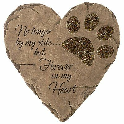New Pet Dog Cat Paw Print Stepping Stone Grave Memorial Heart Plaque Garden