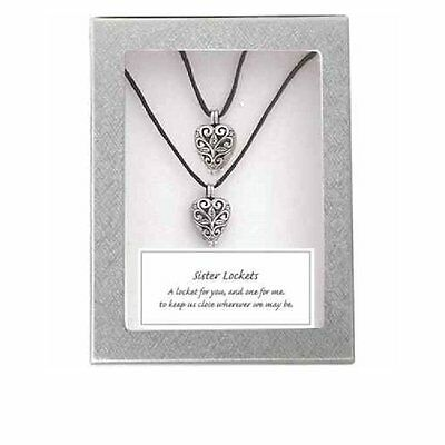 Sisters Matching Heart Locket Pendant Necklaces  Set Of 2