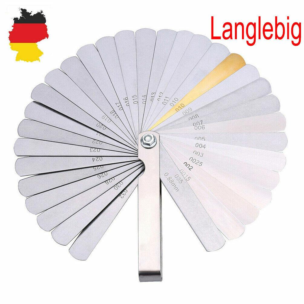Fühlerlehre Fächerspion Ventillehre 32 Blatt 0,04 bis 0,88mm 0,0015-0,335 Zoll