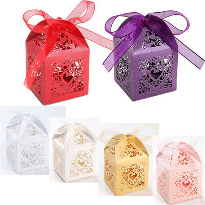 100pcs Love Heart Favor Ribbon Gift Box Candles Candy Boxes Wedding Party Decor