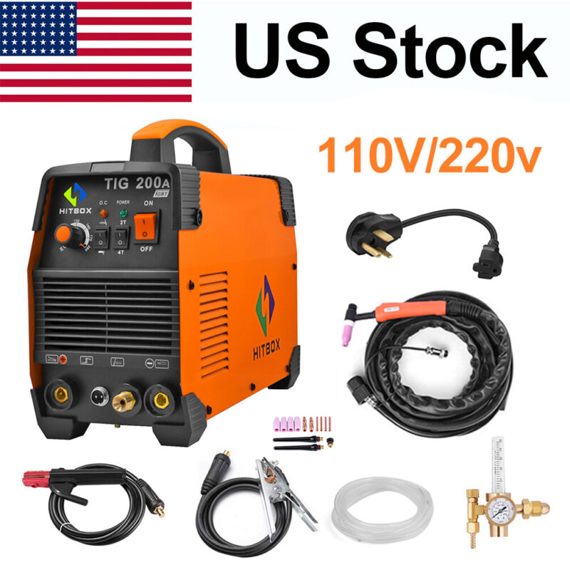 HITBOX TIG Welder 110V/200V Dual Volt High Frequency Welding Machine w/Regulator