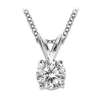 solitaire diamond pendant necklace white gold