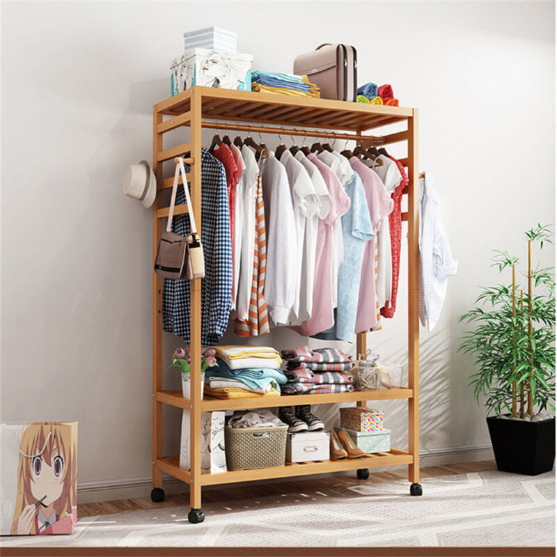 3-Tire 2 in 1 Heavy Duty Garment Rail Wooden Clothes Rack Stand Coat Shoes Rack