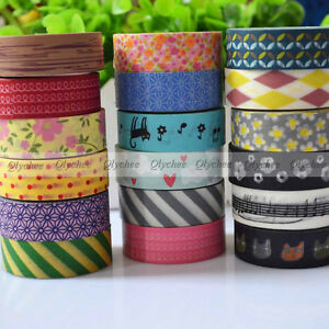 New-Japanese-15mm-Wide-Decorative-Craft-Paper-Washi-Tape-Mulit-Choice