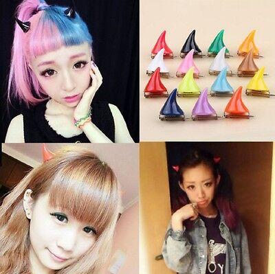 1 Pair Cute Little Devil Horn Hair Pin Clip Clamp Halloween Cosplay Ears Side - Devil Horn Clips