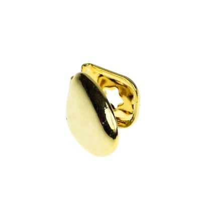 14k Gold Plated Single Cap Grillz Plain K9 Canine Teeth Tooth Grill w/ Mold Kit