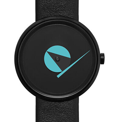 Projects Watches Compass IP Black Steel Quartz Leather Blue Unisex Watch