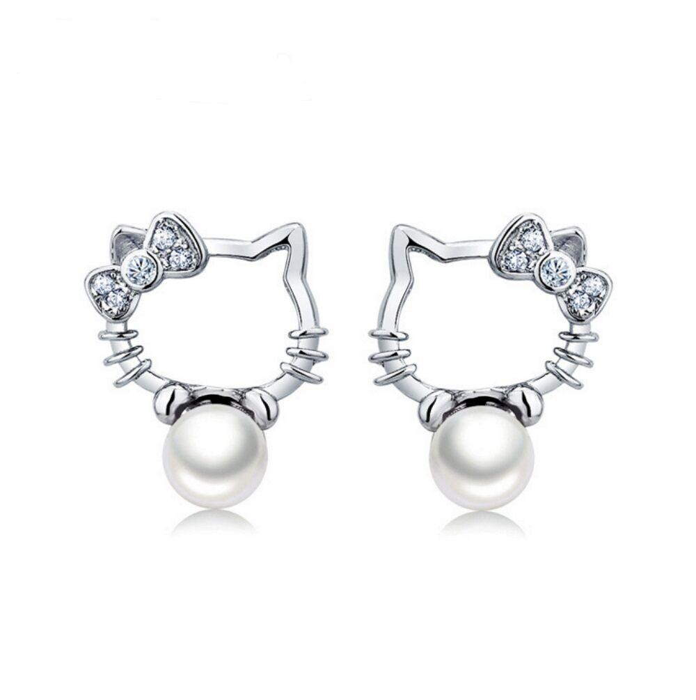 Hello Kitty Stud Earrings-925 Sterling Silver Stud Earrings- Freshwater Pearls Fine Earrings