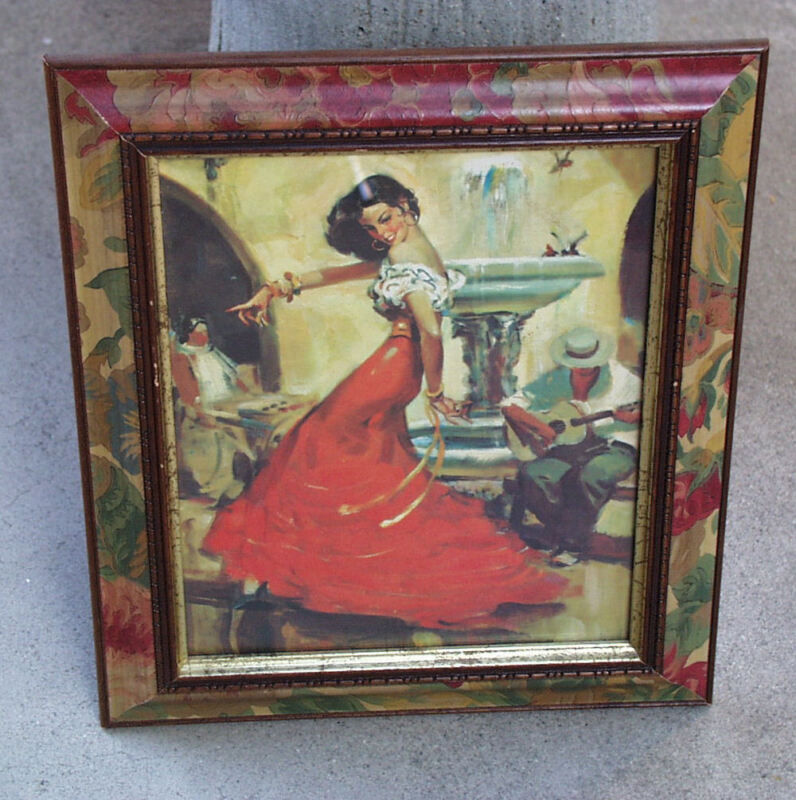 "VINTAGE SPANISH DANCER BEAUTIFUL LITHOGRAPH ART PRINT ""CARMEN"" BY RICO TOMASO"