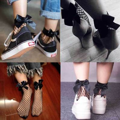 Fishnet BOW SOCKS Black Mesh Lace Ruffle Stockings Short Ankle Women Ladie Soft