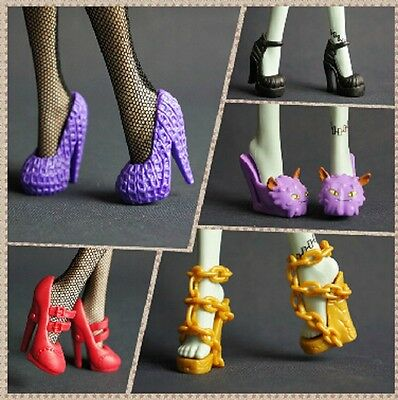 20 Pairs Monster High Dolls Fashion Shoes Beautiful Draculaura High Heels Boots