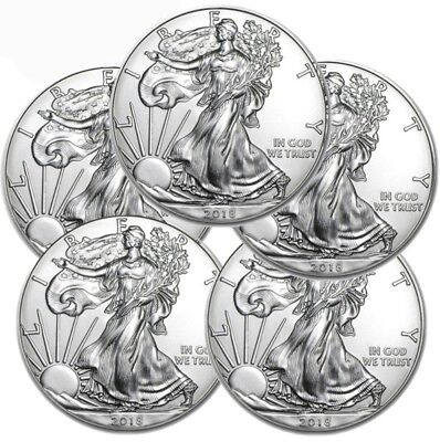Lot of 5 - 2018 1 oz .999 American Silver Eagle GEM BU $1 Coins SKU# 399398