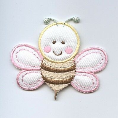 Iron On Embroidered Applique Patch Puffy Childrens Pastel Baby Bumble Bee for sale  Shipping to India
