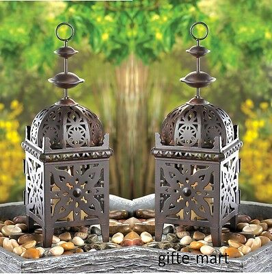 2 rustic brown Marrakech Moroccan Lantern Candle holder outdoor terrace patio
