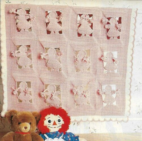 PINK PAPER DOLLS BABY AFGHAN CROCHET PATTERN INSTRUCTIONS HTF