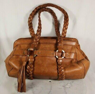 "Swiss BALLY Beautiful Brown Leather Handbag, Braided Straps, 15"" x 10"" Medium"
