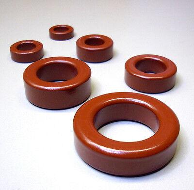 2 Stück Eisenpulver Ringkerne Typ T68-2 rot / Frequenzbereich 1 - 30 MHz