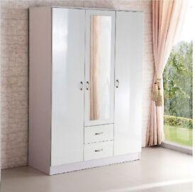brand NEW 3 DOOR WARDROBE WITH MIRROR & 2 DRAWS white OR BLACK