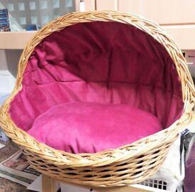 Hand stitched wicker dog basket