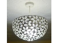 Contemporary Moroccan Style Shabby Chic Cream Metal Jewelled Ball Ceiling Pendant Light Shade
