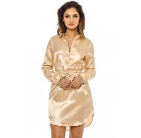 Gold satin dress / Shirt dress