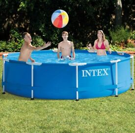 Intex 10ft x 30in 305 x 76 Metal Steel Frame Round Swimming Pool with Filter Pump