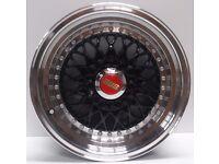 "BRAND NEW 15"" BBS RS Matt Black Alloy Wheels Replica 4x100/108"