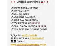 SCRAP CARS VANS WANTED BEST PRICES PAID CASH ON COLLECTION GREATER MANCHESTER LANCASHIRE