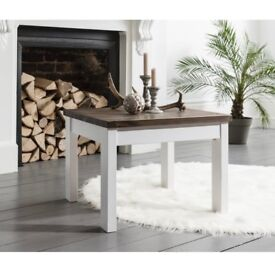 Shabby chic coffee table in white & dark pine