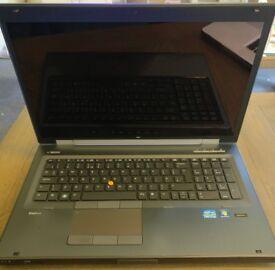 HP 8770w 17in EliteBook i7, 16GB DDR3, K3000m, 128GB SSD, 640GB 7200RPM RAID0, Win7Pro, satchel+dock