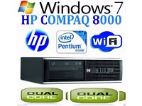 Fast Windows 7 PRO Computer HP Core 2 Duo Huge 6GB RAM DVD WiFi Cheap Desktop PC