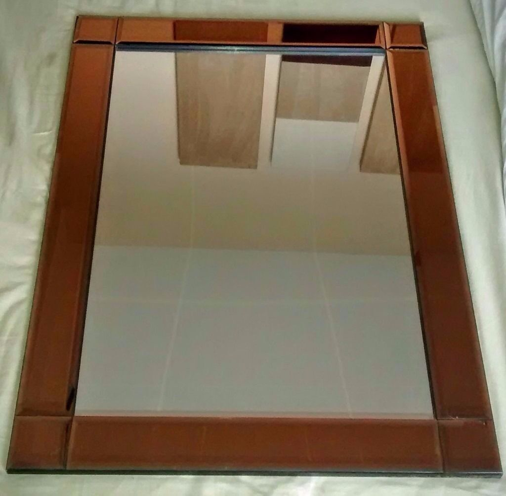 Large bevel border mirror with unusual bronze copper for Tall glass mirror