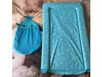 Blue Changing mat & bath toy storage
