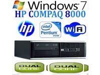 WINDOWS 7 HP COMPAQ 8000 COMPUTER DESKTOP PC INTEL DUAL CORE 8GB RAM WiFi