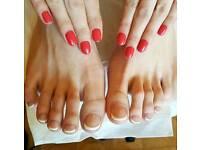 E-file manicure & pedicure. Shellac