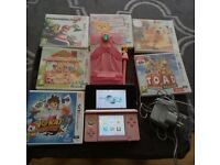 Nintendo 3DS coral pink immaculate condition with games