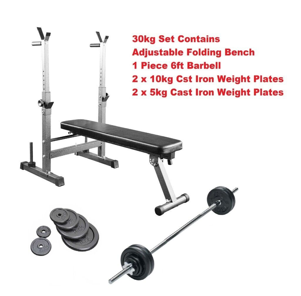 Home Workout Weight Training Set Adjustable Exercise Bench Cast Weight Plates Barbell 100 00 In Appleton Cheshire Gumtree