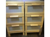 X2 ikea aneboda chest of 3 drawers bedside units