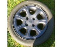 Set of Four 14' Four Stud Alloy Wheels with tyres, 185-55-14, all with decent tread
