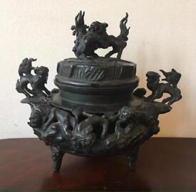 19Th Century Oriental Bronze Tween Handled Incense Burner