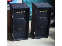 SMALL PAIR OF PORTABLE SPEAKERS FOR PA OR MUSIC USE. MADE BY PORTOGRAM