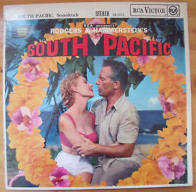 Vintage 1958 Rodgers & Hammersteins South Pacific original soundtrack stereo LP,record,vinyl.£5 ovno